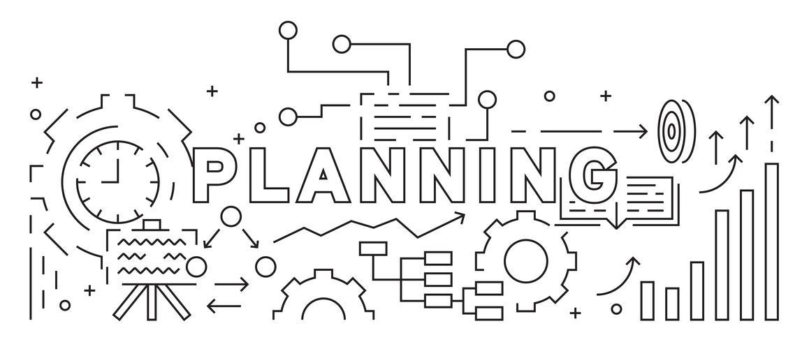 Planung und Geschäftsstrategie-Konzept. Linie Kunst Design. Schwarzweiß-Illustration. Business Banner, Hintergrund und Landing Page. Gekritzelart-Vektor geometrisch