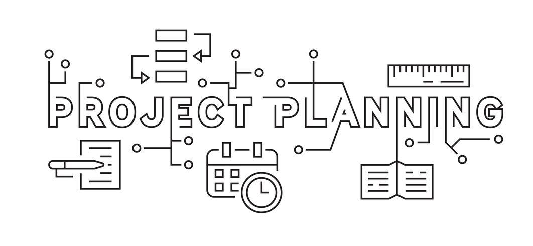 Projektplanering och affärsstrategi. Svartvitt Flat Line Design Ilustration. Ungdomlig Doodle Style Vector. andan hos unga anställda