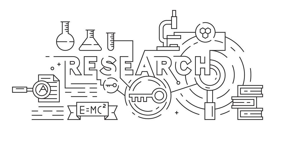Forschung, Riset oder Wissenschaftsillustration. Schwarzweiss-Gekritzelart. Flache Linie Art Vector Concept. Monoline-Design-Banner, Hintergrund oder Zielseite