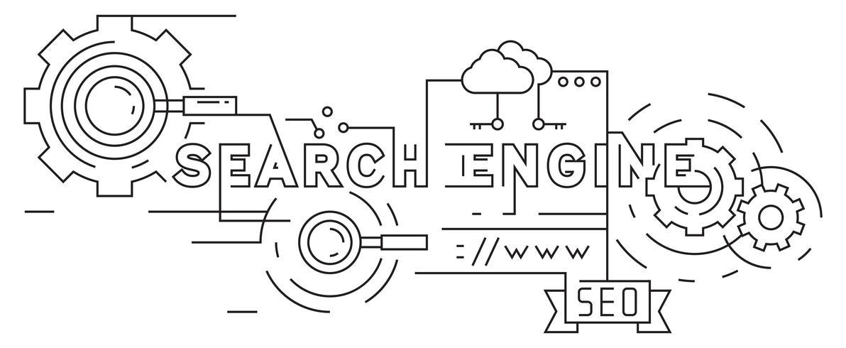 Sökmotoroptimering Flat Line Design. Svartvitt Doodle Style Vector Banner. Geometriska linjer