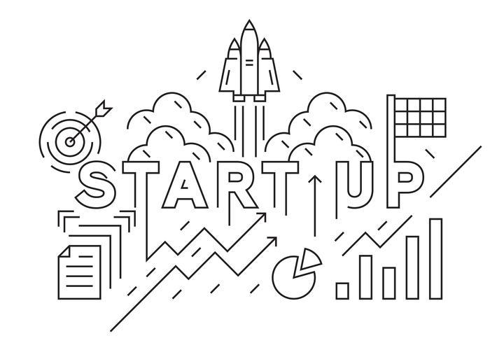 Starta företagets banner, bakgrund eller landningssida. Business Concept Illustration. Svartvitt Doodle Style Vector. Planlösning