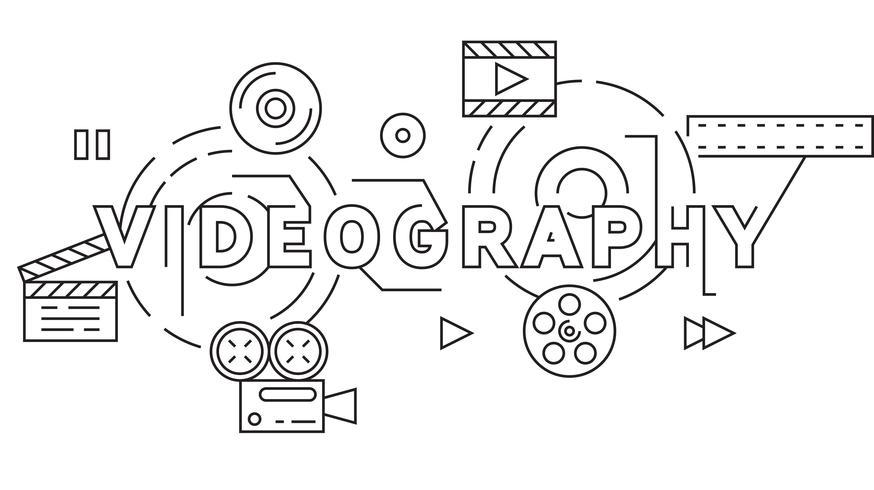 Videografie en Videograaf Thema Illustratie. Zwarte platte lijn ontwerp Vector. Cinematografieconcept in de Illustratie van de Krabbelstijl vector