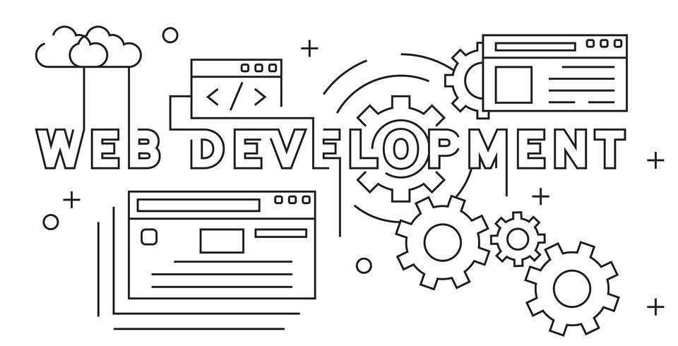 Web ontwikkeling illustratie. Website die het Vlakke Concept van het Lijnontwerp ontwikkelt. Jeugd doodle stijl op zwart en wit vector