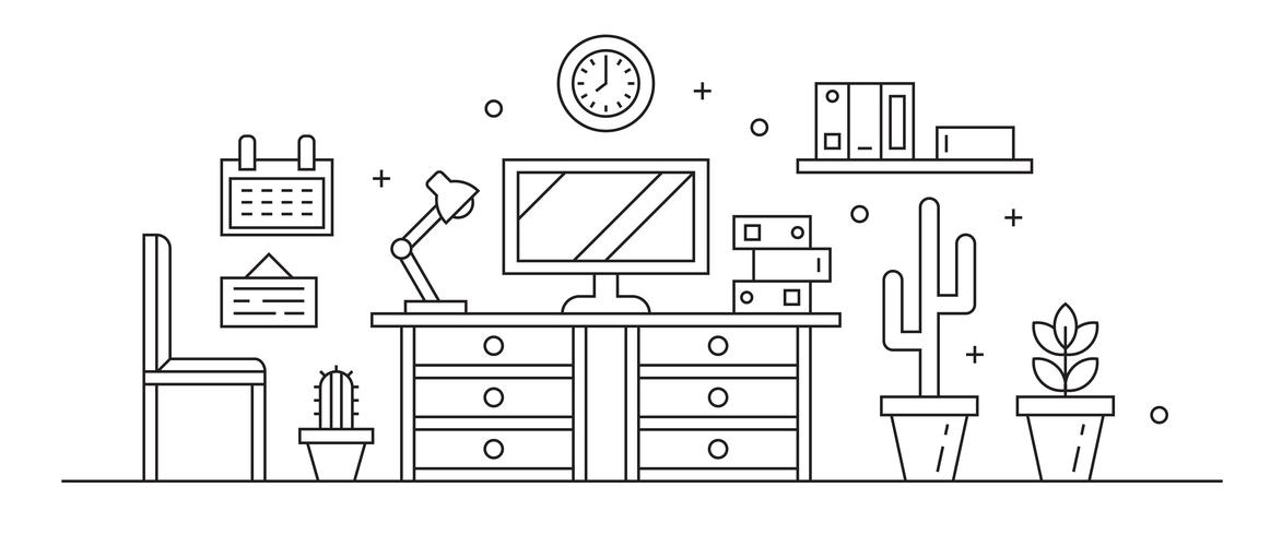 Workplace Line Art Black And White. Simple Thin Line Design Vector. Workspace or Private Room Concept and Interiors