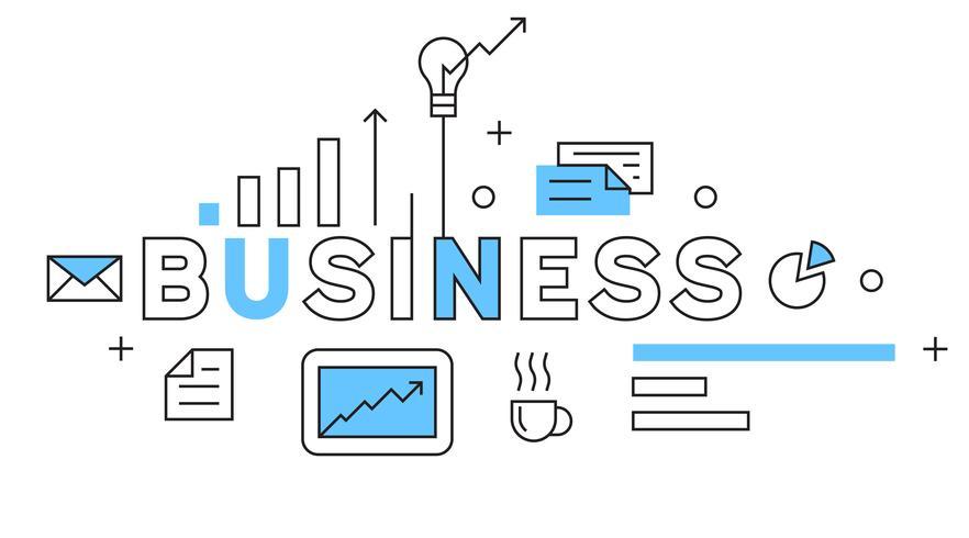 Business linea piatta Design in blu. Concetto di illustrazione di affari con stile Doodle. giovane banner tipografia o landing pages.flat e geometrico