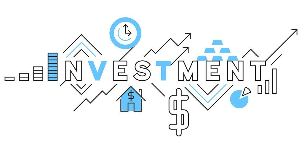 Investment Flat Line Design In Blue. Zakelijke en financiële vector illustratieontwerpen