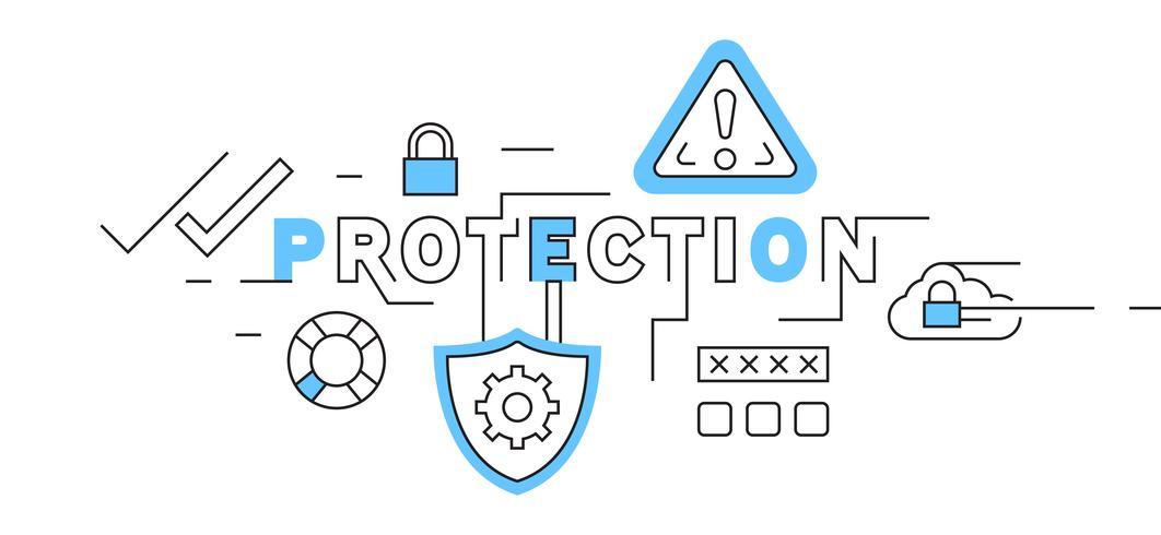 Design de linha plana de proteção em azul. segurança do sistema e ilustração de segurança de dados. vetor de tema de negócios e tecnologia