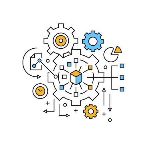 Management illustratie. Project Management Concept Platte lijn ontwerp met oranje en blauwe kleuren. Business Management Doodle Style Vector en Jeugdig