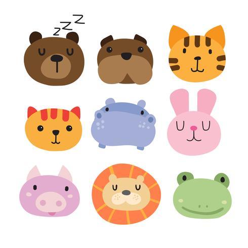 dieren hoofd collectie ontwerp vector