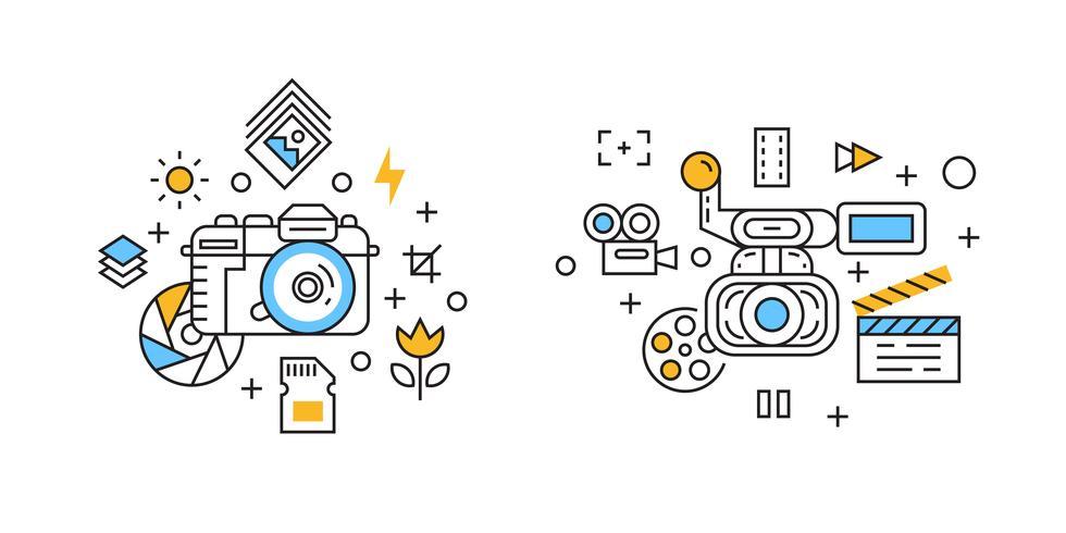 Fotografie en Videografie Illustratie. Filmen en cinematografisch concept met platte lijnontwerp Krabbelstijl vector