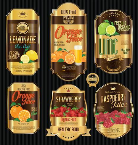 Set van organische fruit retro vintage gouden labels-collectie vector