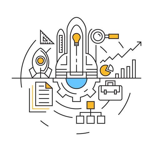 Ilustración del proyecto. Diseño de línea plana con colores azul y naranja. Vector de estilo juvenil y garabato. Negocios e Industrias Concept Line Objetos de Diseño