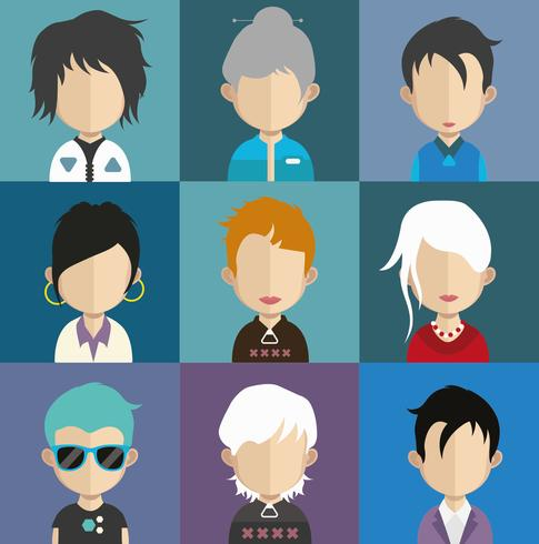 Sats med färgglada avatarer av tecken