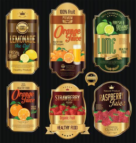 Satz der goldenen Aufklebersammlung der Retro- Weinlese der organischen Frucht