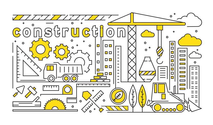 Platte lijn ontwerp met bouw en architect thema. Gebouw ontwerpconcept met gele kleur vector