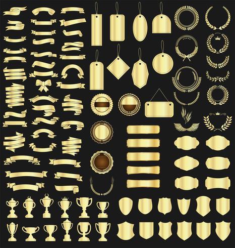 colección de varias cintas etiquetas laureles escudos y trofeos vector