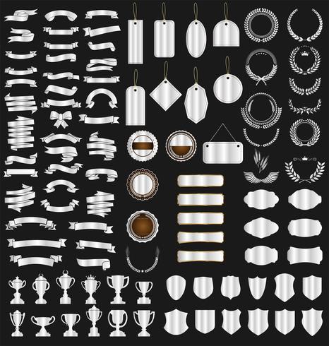 collection de rubans divers tags boucliers et trophées de lauriers vecteur