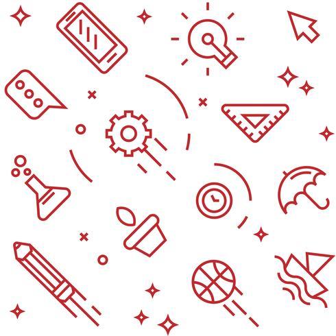 Kreatives Muster. Flache Linie Gekritzelartobjekte für Verpackungen oder andere Zwecke