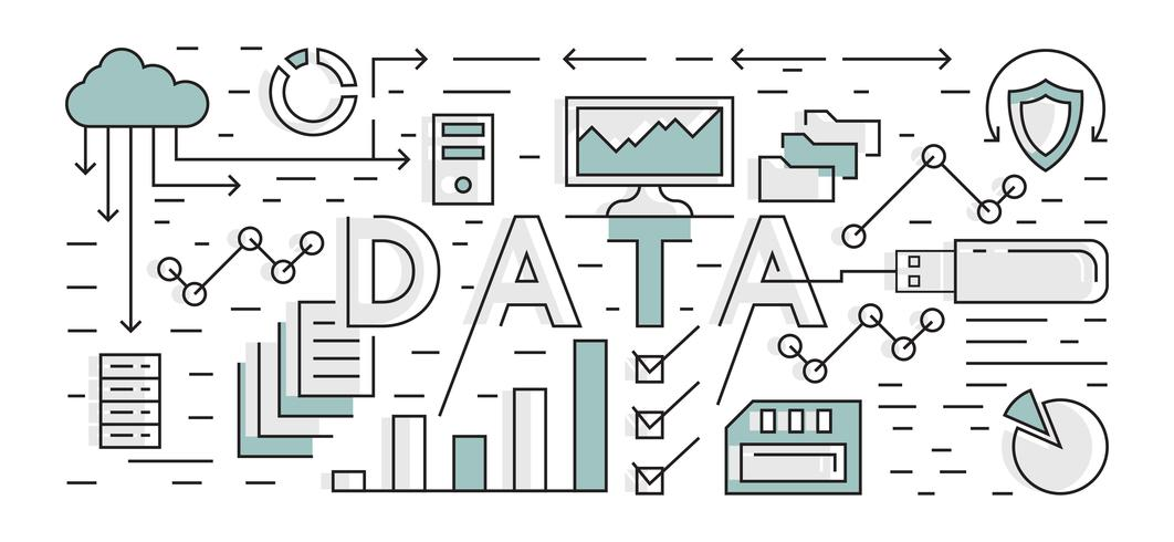 Data And Analytic Illustration. Technology Background. Flat Line Design Geometric With Blue Color