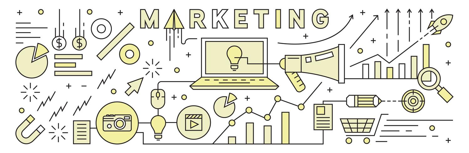 Flache Linie Design mit flachen Farben. Vermarktungsstrategie. Abbildung Vektor