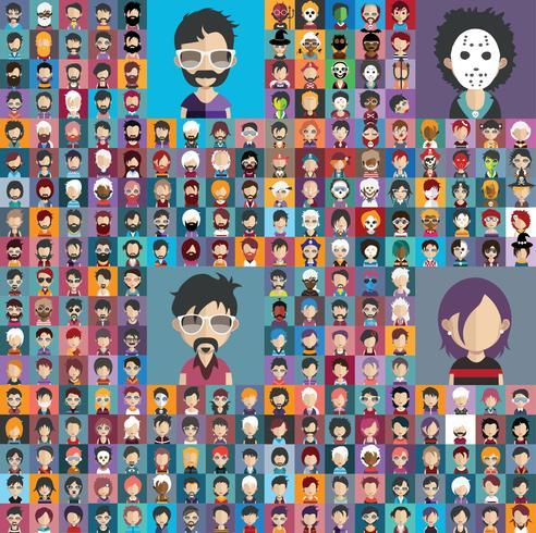 Set bunte Avatare von Zeichen