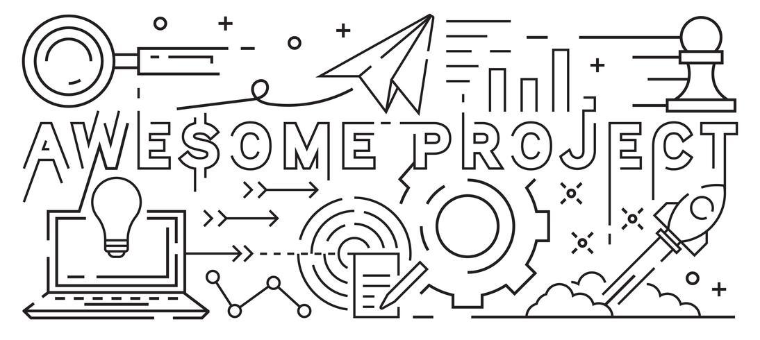 Impressionante Projeto Linha Art Design. Estilo jovem Doodle. Ilustração preto e branco. Negócios, Startup e conceito de projeto. Banner de linha fina e Design de plano de fundo