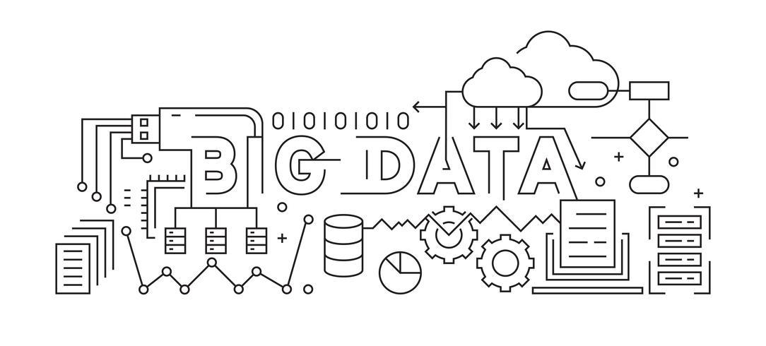 Big Data Line Art Design. Schwarzweiss-vektorauslegung. Daten- und Speicherkonzept
