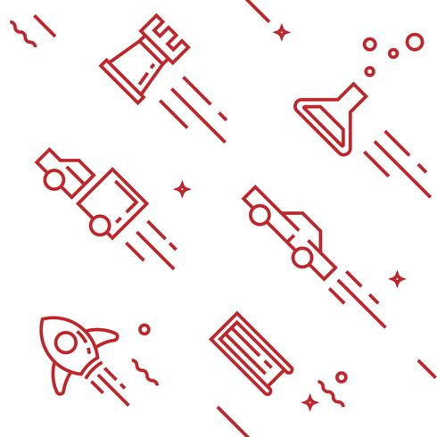 Creatief patroon. Platte lijn doodle stijlvoorwerpen voor verpakking of andere doeleinden vector