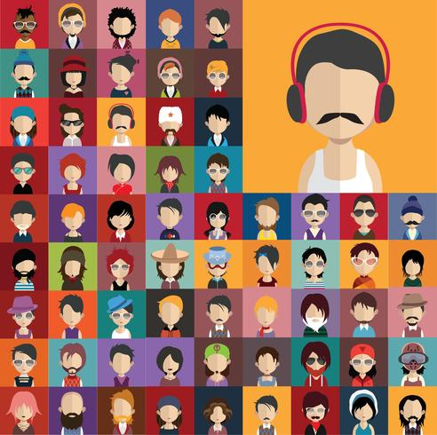 Set van mensen pictogrammen met gezichten vector
