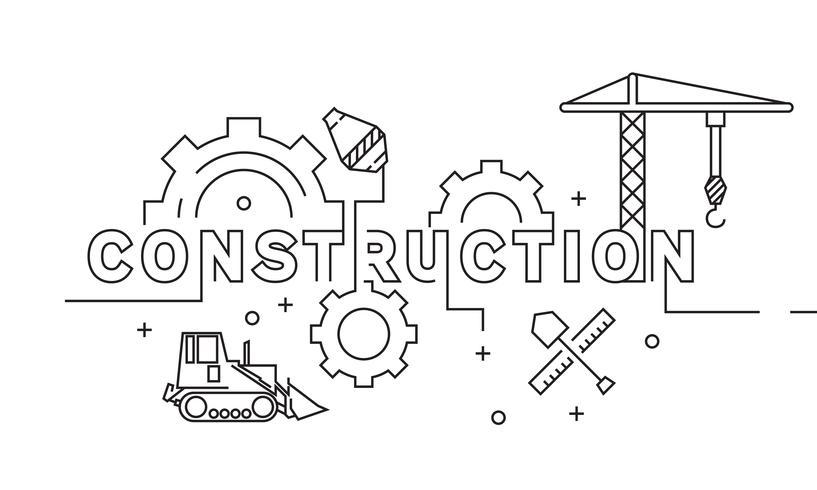 Design de linha plana de construção. Doodle geométrico estilo conceito ilustração. Vetor preto e branco liso. Negócios e Fabricação