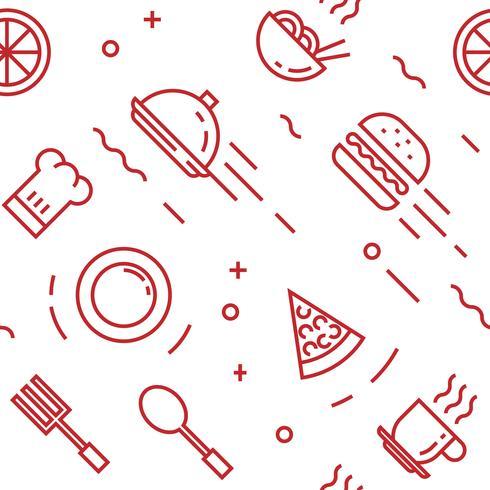 Essen Muster. Flache Linie Gekritzelartobjekte für Verpackungen oder andere Zwecke