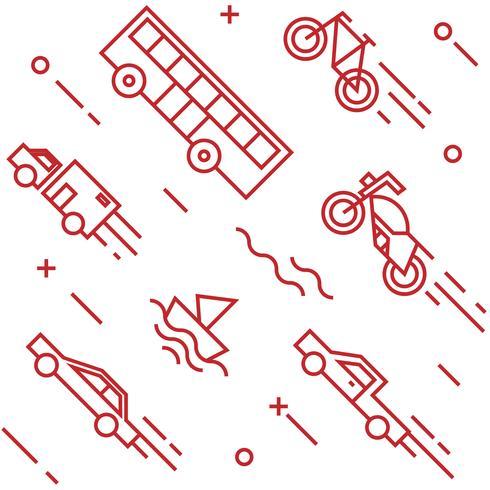 Fahrzeuge Muster. Flache Linie Gekritzelartobjekte für Verpackungen oder andere Zwecke