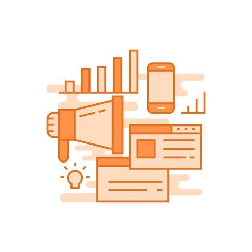 Marketing-Illustration. flache Linie entworfenes Konzept mit orange Farben für mobile Apps oder andere Zwecke