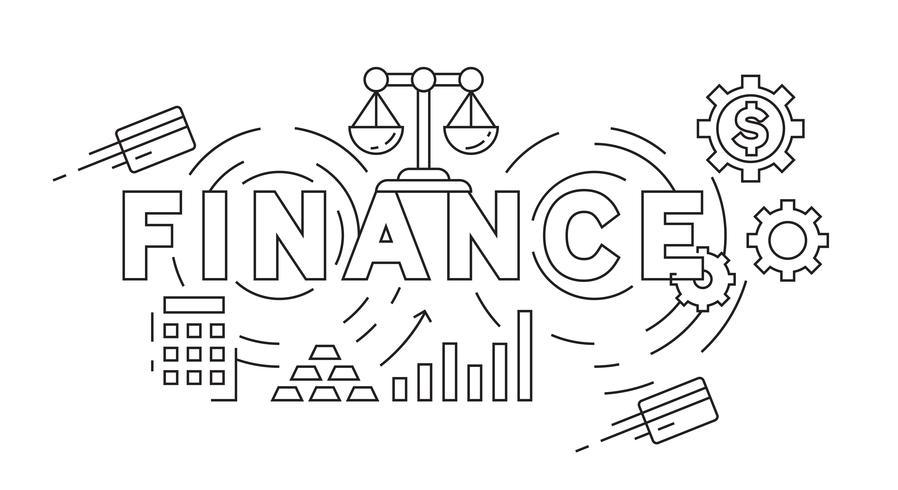 Concepto de diseño de línea plana de finanzas. Blanco y negro estilo Doodle en geométrico dibujado. Concepto de negocio y finanzas tema. Gestión financiera vector