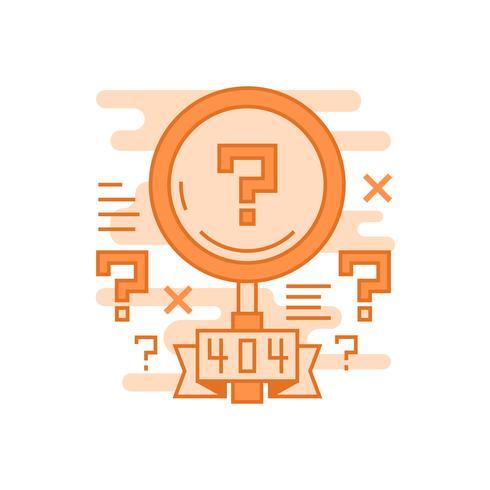 Ricerca non trovata illustrazione. Concetto di linea piatta progettato con colori arancioni, per applicazioni mobili o altri scopi