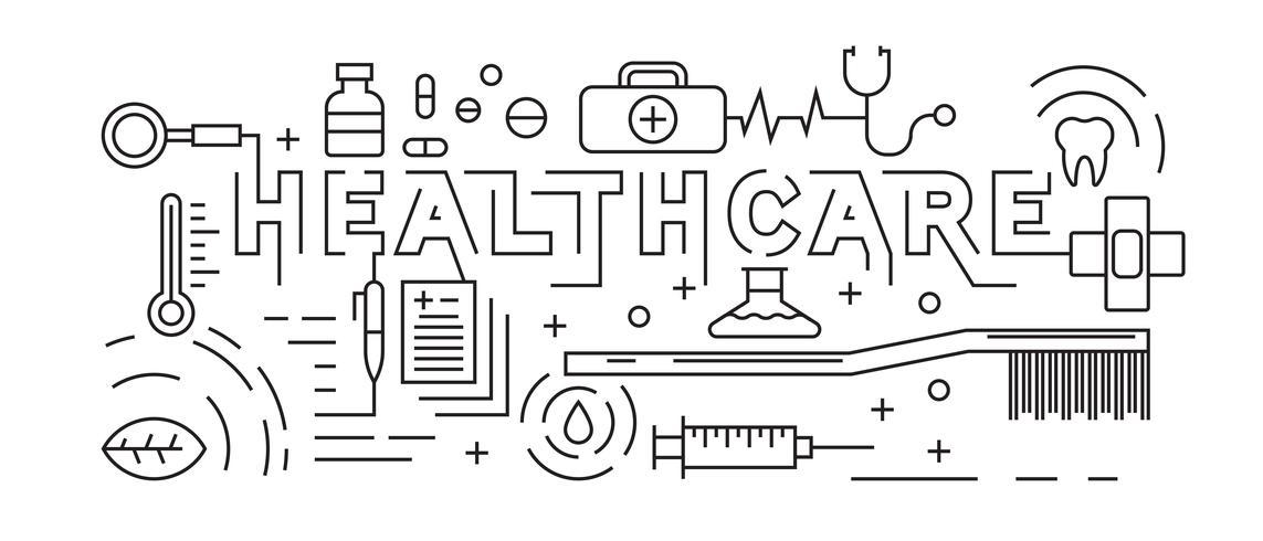 Gesundheitswesen, Apotheke und medizinisches Konzept. Linie Kunst Design Vektor. Schwarzweiss-Gekritzelart. Hintergrund- und Fahnendesign