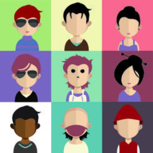 Conjunto de coloridos avatares de personajes.