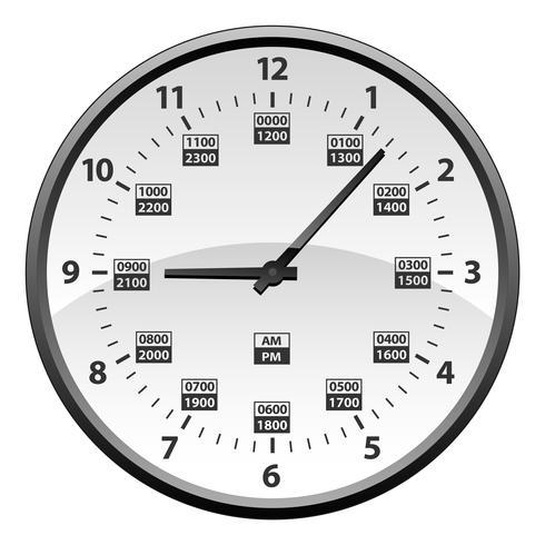 Realista 12 a 24 horas de conversión de reloj de tiempo militar aislado ilustración vectorial