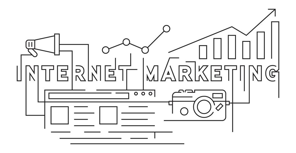 Internet Marketing Flat Line Doodle Style. Banner Illustration Design Vector. Business and Marketing Technology