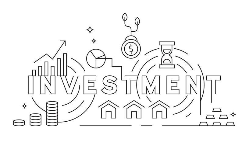 Concepto de inversión Diseño de línea delgada. Negocios y Finanzas tema ilustración. Líneas geométricas en blanco y negro. Banner o fondo de diseño vectorial
