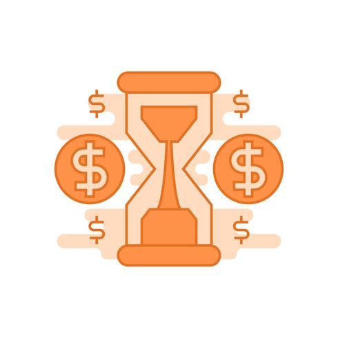 Tijd is geld illustration.flat lijn ontworpen concept met oranje kleuren, voor mobiele apps of andere doeleinden vector