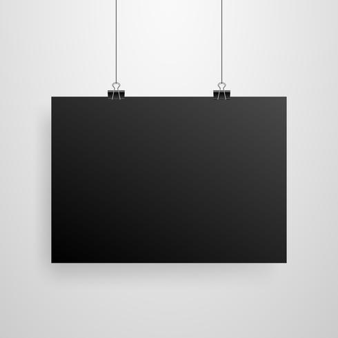 Mock-Up realistische zwarte poster opknoping
