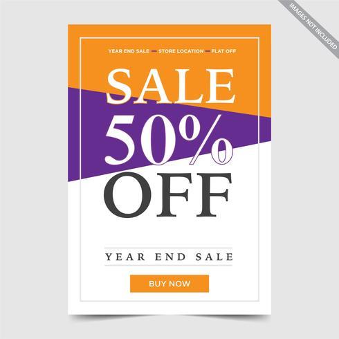 Conception de Flyer à vendre, illustration de vecteur vente flyer bunting orange pourpre couleur