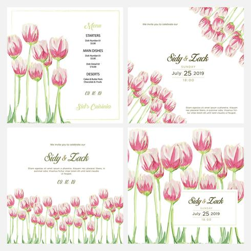 Watercolor floral elegant wedding invitation vector