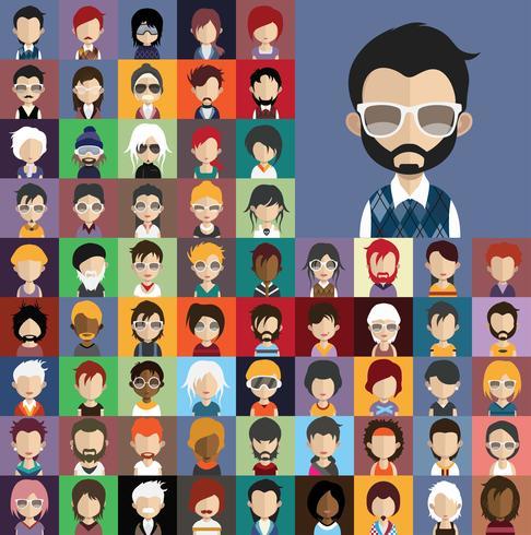 Avatar verzameling van verschillende mannelijke en vrouwelijke personages