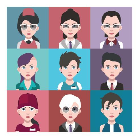 Conjunto de avatares coloridos de personagens