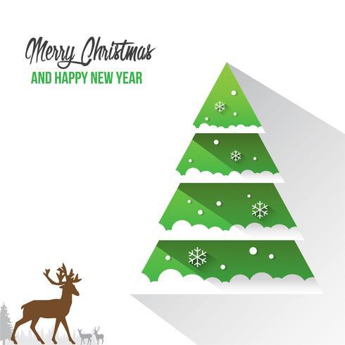 Carta delle decorazioni del buon anno e di Buon Natale con il fondo di vettore di Bokeh del fiocco della neve
