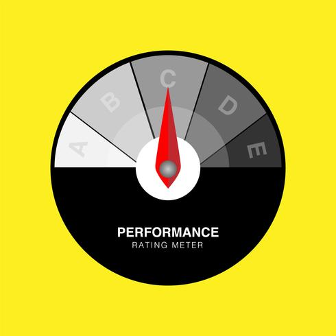 Illustration vectorielle créative d'indicateur de satisfaction client d'évaluation. Indicateur de performance