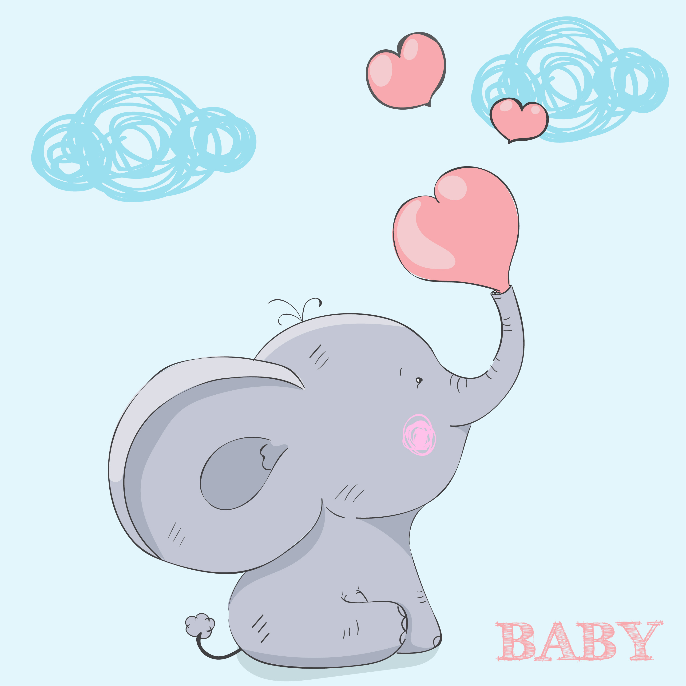 Cute Little Baby Elephant Download Free Vectors Clipart
