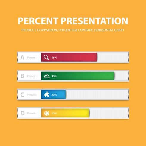 Business infographic percentage bar template with 4 options